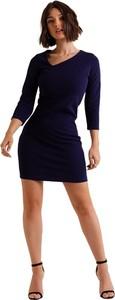 Niebieska sukienka Ivon mini z długim rękawem