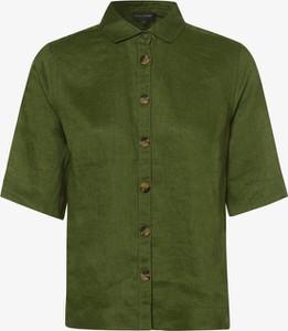 Zielona bluzka Franco Callegari z krótkim rękawem z lnu z dekoltem w kształcie litery v