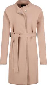 Różowy płaszcz Pinko z wełny