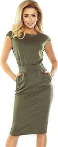 Zielona sukienka NUMOCO midi z okrągłym dekoltem z krótkim rękawem