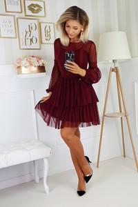 Sukienka Bicotone rozkloszowana z długim rękawem mini