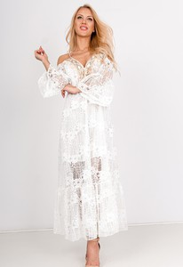Sukienka Zoio w stylu boho z długim rękawem maxi