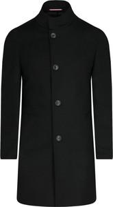 Czarny płaszcz męski Tommy Tailored z wełny