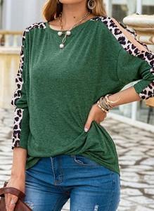 Zielona bluzka Cikelly w stylu casual z długim rękawem