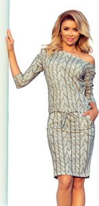 Sukienka NUMOCO z długim rękawem z dekoltem w łódkę w stylu casual