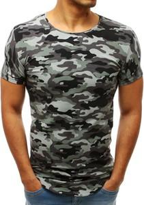 Zielony t-shirt Dstreet z krótkim rękawem w militarnym stylu z bawełny