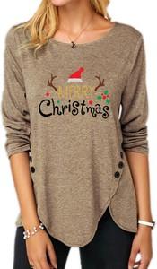 Brązowa bluzka Sandbella z okrągłym dekoltem w bożonarodzeniowy wzór