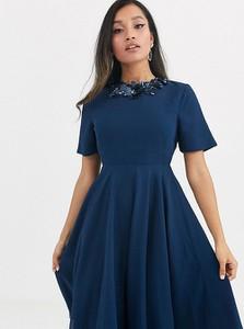 Granatowa sukienka Asos z krótkim rękawem