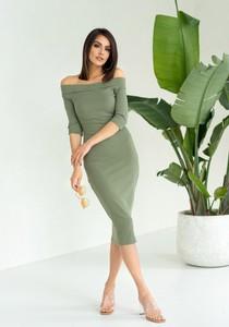 Zielona sukienka Jomu w stylu casual z bawełny hiszpanka