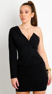 Czarna sukienka Olika mini z długim rękawem z dekoltem w kształcie litery v