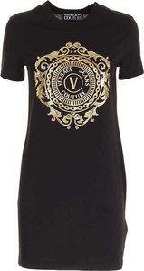 Czarna sukienka Versace Jeans z krótkim rękawem