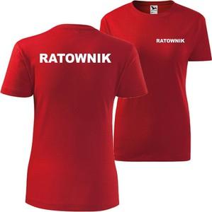 T-shirt TopKoszulki.pl z krótkim rękawem z okrągłym dekoltem z bawełny