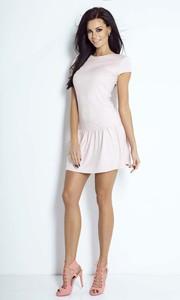 Sukienka Ivon z krótkim rękawem z zamszu z okrągłym dekoltem