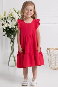 Czerwona sukienka dziewczęca KARKO z dzianiny