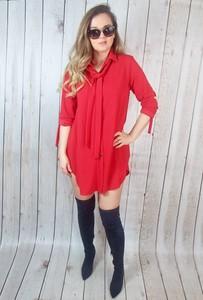 Czerwona sukienka hitdnia.com.pl koszulowa mini