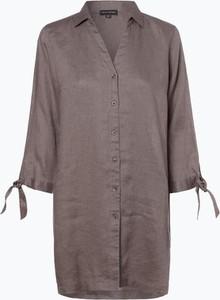 Brązowa koszula Franco Callegari z lnu z dekoltem w kształcie litery v z długim rękawem