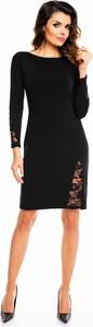 Czarna sukienka Awama z długim rękawem prosta