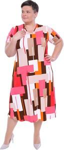 Sukienka modneduzerozmiary.pl z dekoltem w kształcie litery v w stylu casual