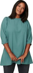 Zielona bluzka Zizzi w stylu casual z okrągłym dekoltem z długim rękawem