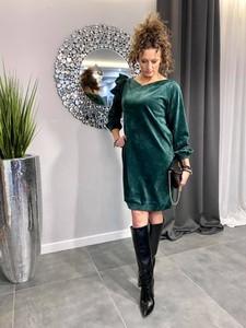 Zielona sukienka Paris mini z okrągłym dekoltem