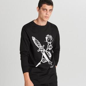 Koszulka z długim rękawem Cropp z nadrukiem z długim rękawem