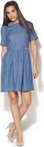 Niebieska sukienka Katrus mini z bawełny z okrągłym dekoltem