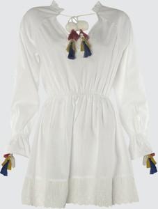 Sukienka Trendyol z długim rękawem z dekoltem w kształcie litery v rozkloszowana