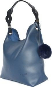 Niebieska torebka Gallantry z pomponami