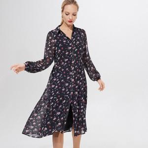 Granatowa sukienka Mohito midi w stylu casual