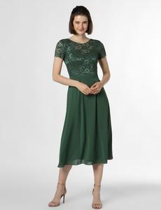 Zielona sukienka Swing z okrągłym dekoltem rozkloszowana z krótkim rękawem