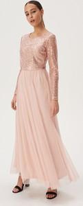 Różowa sukienka Sinsay z długim rękawem maxi z okrągłym dekoltem