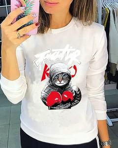 Bluza Kendallme w młodzieżowym stylu z nadrukiem z bawełny