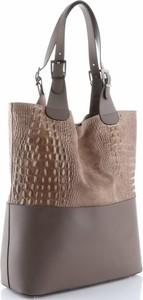Brązowa torebka GENUINE LEATHER ze skóry w stylu casual