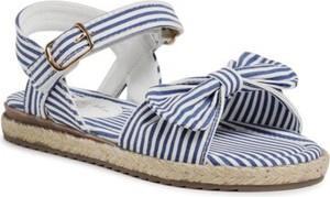 Granatowe buty dziecięce letnie Nelli Blu na rzepy w paseczki