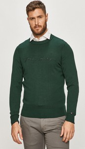 Zielony sweter Tommy Hilfiger z bawełny