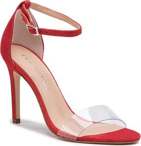 Czerwone sandały Eva Minge z klamrami na wysokim obcasie na szpilce