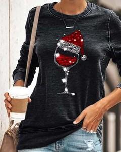 Bluzka Kendallme w bożonarodzeniowy wzór z okrągłym dekoltem