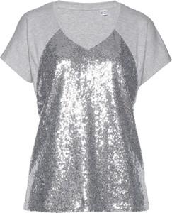 Srebrny t-shirt bonprix bpc selection premium z krótkim rękawem z dekoltem w kształcie litery v w stylu glamour