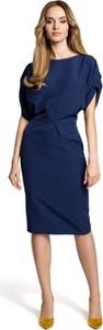 Niebieska sukienka MOE midi ołówkowa z krótkim rękawem