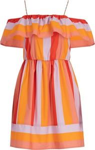 Sukienka Twinset w stylu casual z dekoltem w karo z odkrytymi ramionami