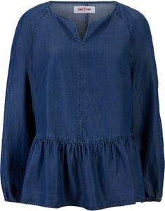 Niebieska bluzka bonprix w stylu casual z długim rękawem