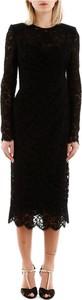 Czarna sukienka Dolce & Gabbana z okrągłym dekoltem z długim rękawem midi