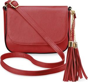 2e44abade15f9 Czerwona torebka world-style.pl ze skóry ekologicznej w stylu casual z  frędzlami