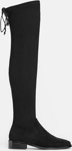 Czarne kozaki Kazar na zamek z płaską podeszwą ze skóry