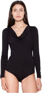 Czarna bluzka Venaton w stylu casual z dekoltem w kształcie litery v