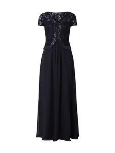 Czarna sukienka Christian Berg Cocktail z szyfonu rozkloszowana z krótkim rękawem