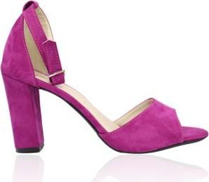 Różowe sandały Selli w stylu klasycznym na wysokim obcasie z klamrami