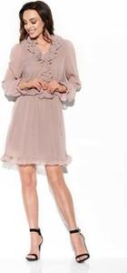 Różowa sukienka Lemoniade z żabotem mini