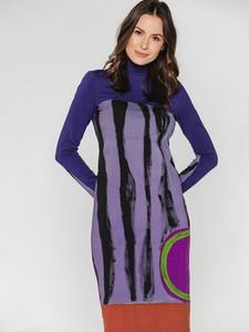Sukienka Bialcon Art z golfem z długim rękawem mini