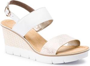 1d60bec1eb6f0 Sandały Rieker na średnim obcasie ze skóry ekologicznej w stylu casual